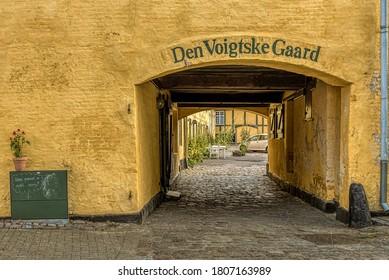 Gate to an inner yard where H C Andersen had his first love affair, Faaborg, Denmark, August 16, 2020