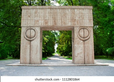The Gate Of The Kiss, located in Targu Jiu city, Romania, is one of the most important works of sculptor Constantin Brancusi. On each side of the arch the pillars have carved the symbol of kiss.