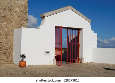 Gate of the Lighthouse of Cabo de Sao Vicente in Algarve, Portugal