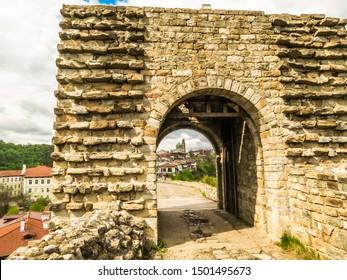 Gate of the medieval fort Tsarevets. Capital of the Second Bulgarian Kingdom, Veliko Tarnovo, Bulgaria