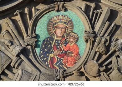 Gate mosaic of Mary in Jasna Gora, Poland