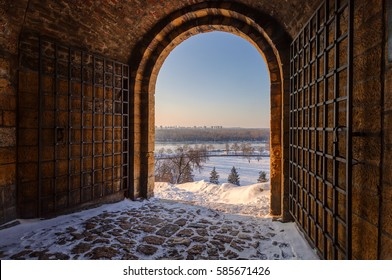 Gate of the old fortress under the snow, note shallow depth of field
