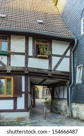 gate in the old half-timbered house in Quedlinburg, Germany