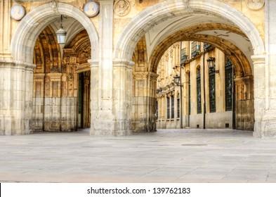 gate at Plaza Mayor, Salamanca, Spain