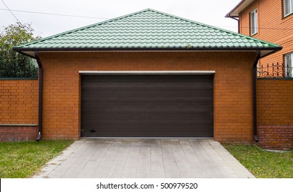 The gate of a private house garage