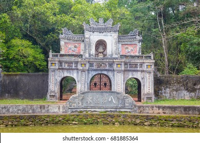 The gate of ruin pagoda in Hue Vietnam. Tu Dam pagoda