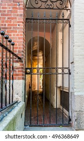gate of Secret passage of Black Heritage Trail, through Beacon Hill, Boston,Mass. This freedom trail  features places where liberty-loving men and women began to take collective action.