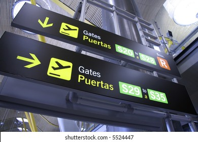 gate sign panel in airport, madrid, spain