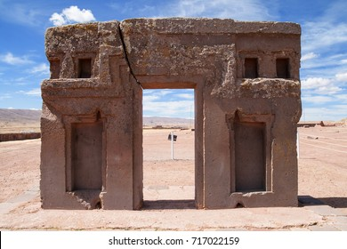 Gate of the sun, kalasasaya temple, a pre-columbia architectural site,  tiahuanaco, Bolivia