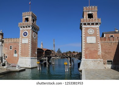 Gate with towers and bridge at the Arsenal in Venice, Italy