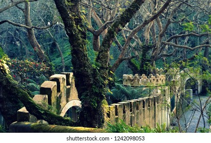 Gate to the the Valley of the Lakes and the Garden of Camellias in the Park of Pena, Sintra Portugal in winter time