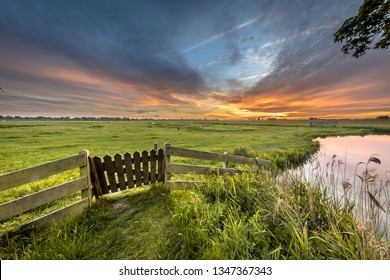 Gate view of agricultural landscape of dutch countryside in Groningen Netherlands