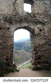 Gate and window in ruins of Starhrad castle in Žilina region, Slovakia