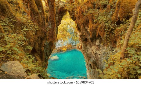 Gate of the Wishes, Mrtvica river autumn Canyon Montenegro Wild Beauty. Nature landscape background.