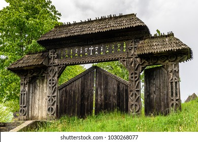 Gate to the Wooden churches of Maramures Transylvania, Romania. UNESCO World Heritage