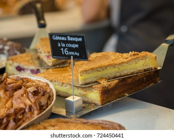 Gateau basque in a pastry of french basque country