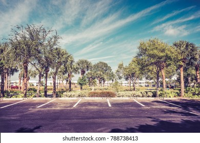 Gated community empty parking lot  in South Florida. Vintage tone