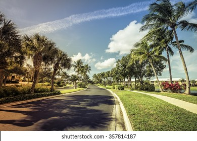Gated community road in South Florida, light leaks