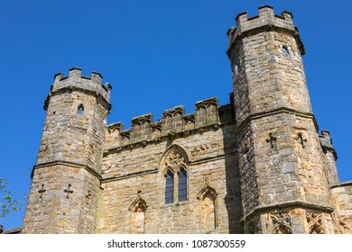 The gatehouse of Battle Abbey in East Sussex, UK.