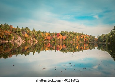GATENAU, QUEBEC / CANADA - OCTOBER 21 2017: AUTUMN AT PINK LAKE