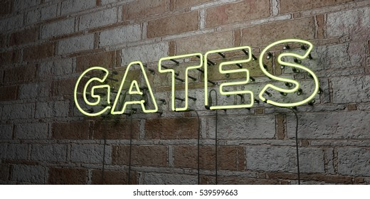 GATES - Glowing Neon Sign on stonework wall - 3D rendered royalty free stock illustration.  Can be used for online banner ads and direct mailers.