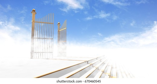 Gates of heaven in fog above stairs with blue sky background - 3d rendering