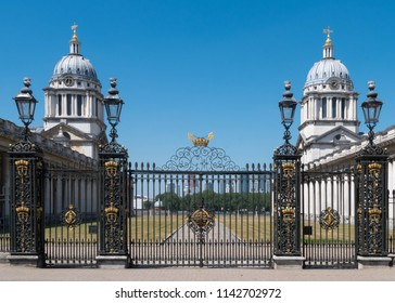 Gates to the Old Royal Naval College in Greenwich, England, United Kingdom
