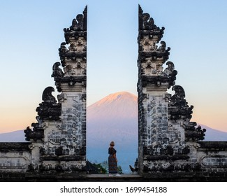 Gates with a view of volcano in Bali, Indonesia