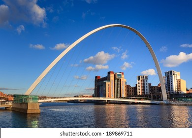 GATESHEAD, ENGLAND - MARCH 3:  Gateshead Millennium Bridge with the Baltic Centre for Contemporary Art. The bridge spans the River Tyne in north east England on March 3, 2014.