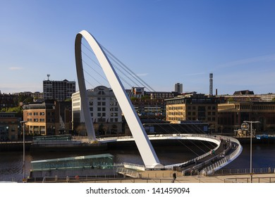 GATESHEAD, ENGLAND - MAY 16: Gateshead Millennium Bridge which connects Gateshead and Newcastle upon Tyne and spans the River Tyne in north east England pictured on May 16, 2013.