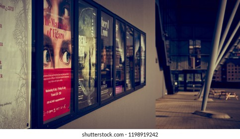 GATESHEAD, ENGLAND, UK - MAY 08, 2018: Posters promoting concerts and cultural events at The Sage.