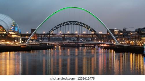 The Gateshead Millennium Bridge and the Tyne Bridge, Newcastle Upon Tyne
