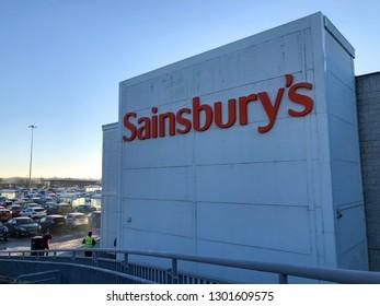 Gateshead, Tyne and Wear - February 1st 2019. Sainsbury's signage/logo on the side of the store.
