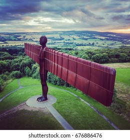 GATESHEAD, TYNE AND WEAR, UK - CIRCA JULY 2017: Aerial view of the Angel of the North sculpture by Antony Gormley