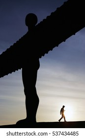 GATESHEAD, TYNE AND WEAR/UK - APRIL 16th 2010 - The Angel of the North sculpture by Antony Gormley.