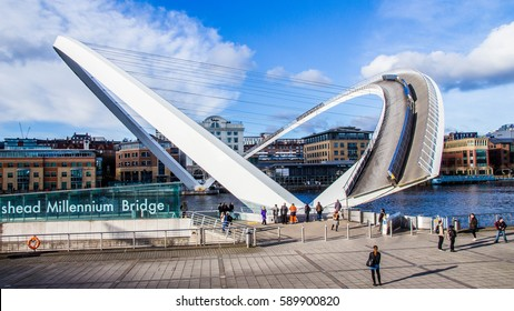 Gateshead -UK 02/28/2017 The Gateshead Millennium Bridge fully opened to let in passing ship.