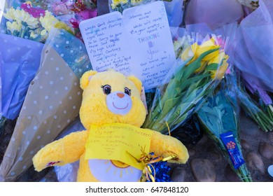 GATESHEAD, UK - 26TH MAY 2017: Tribute note left at the feet of the Angel of the North in memory of Courtney Boyle, and step dad Philip Tron, who died in the Manchester terror attack.
