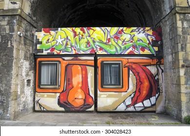GATESHEAD, UK - APRIL 30th. Graffiti on under the Arches next to the Sage Gateshead, on August 6th, 2015 at Gateshead, Tyne & Wear, England, UK.