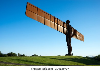 GATESHEAD, UK - AUGUST 6TH. The Angel of the North steel sculpture by Antony Gormley stands 66 feet high with a wing span of 177 feet, on August 6th at Gateshead, Tyne & Wear, England, UK.