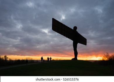 GATESHEAD, UK - NOVEMBER 30th, 2016. The Angel of the North, Gateshead. A steel sculpture by Antony Gormley, stands 66 feet high with a wing span of 177 feet. The sky is blue.