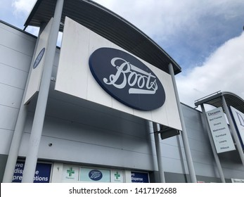 Gateshead, United Kingdom - June 6th 2019: Boots Pharmacy Large Store Shopfront Sign taken at Retail World in Team Valley, Gateshead, Tyne and Wear England UK.