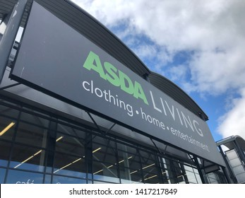 Gateshead, United Kingdom - June 6th 2019: Asda Living Store Shopfront Sign taken at Retail World in Team Valley, Gateshead, Tyne and Wear England UK.