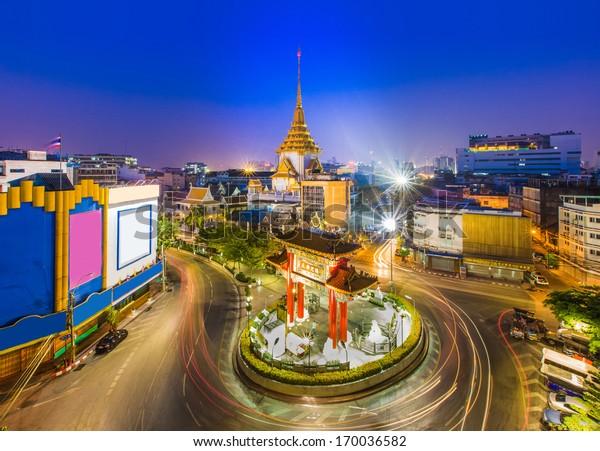 The Gateway Arch (Odeon Circle) and Golden Buddha Temple, Landmark of Chinatown Bangkok Thailand