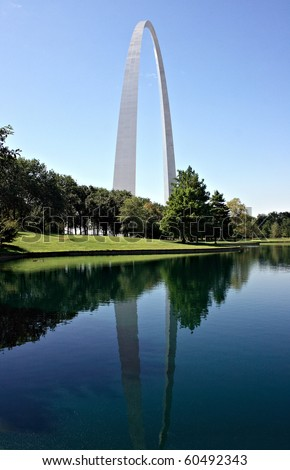 Gateway Arch in St Louis with reflection in pond