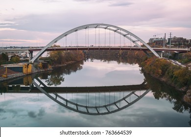 The Gateway bridge in Nashville, Tennessee. Korean Veterans Blvd. crossing the Cumberland River, shot on a late autumn afternoon.