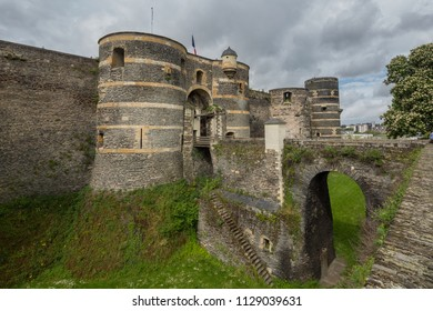 Gateway to Chateau d'Angers or the famous historic castle of Angers, once capital of Anjou, in Marne-et-Loire department of France