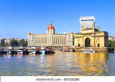 The Gateway of India and boats as seen from the Mumbai Harbour in Mumbai, India.JPG