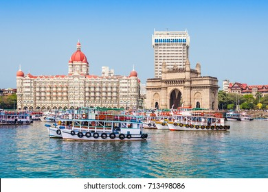 Gateway of India and boats as seen from the Mumbai Harbour in Mumbai, India.