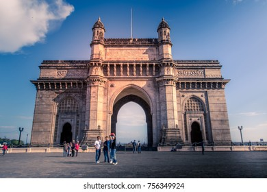 gateway of india at day time with people visited, mumbai, india