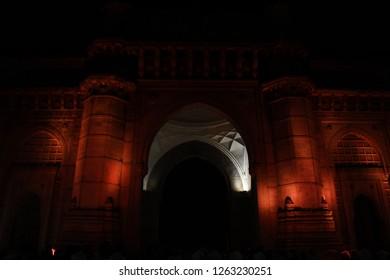 Gateway of india lit at night in Mumbai